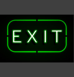 neon banner on text exit background vector image