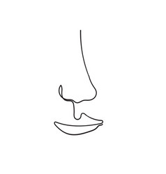 One line drawing woman face modern minimalism art vector