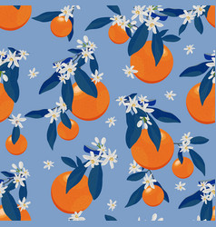 orange fruits seamless pattern with flowers and vector image