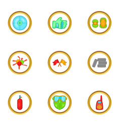 paintball accessories icons set cartoon style vector image