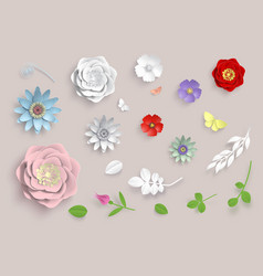 paper art flowers set 3d origami flowers vector image