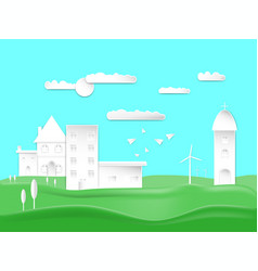 Paper art style design city town and house vector