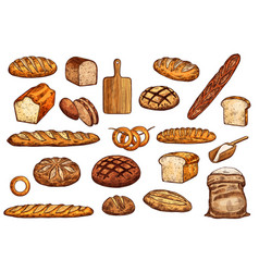 pastry icons bread baguete bun and bagel vector image