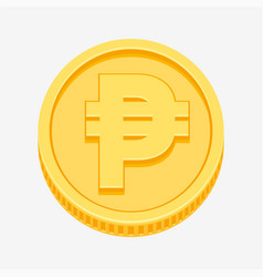 Philippine peso currency symbol on gold coin vector