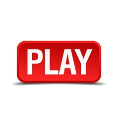 Play red 3d square button isolated on white vector