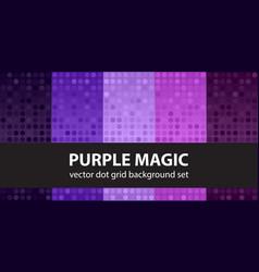 Polka dot pattern set purple magic seamless vector