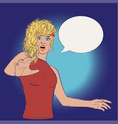 Pop art scared woman vector