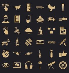 radio technology icons set simple style vector image