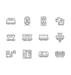 railroad traffic and cars flat line icons vector image