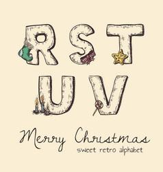 retro christmas alphabet - r s t u v vector image