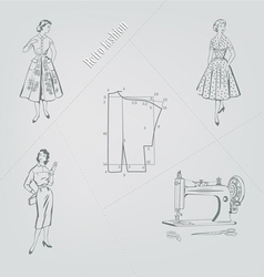 retro fashion on a gray background vector image