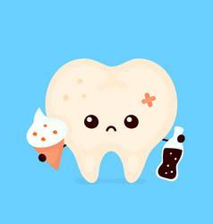 Sad unhealthy sick human tooth vector