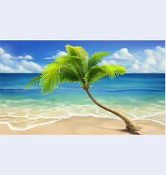 Sea beach realistic background vector