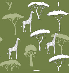 Seamless pattern with giraffe and savanna trees vector