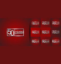Set anniversary logo style with silver premium vector