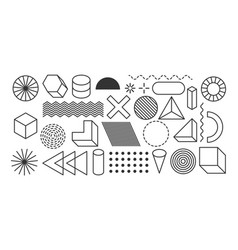 set geometric shapes memphis design elements vector image