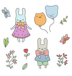 set of cute little cartoon hares set of cute vector image