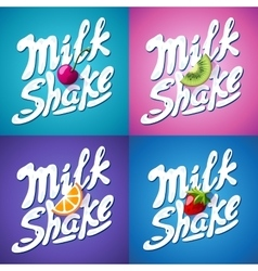 Set of lettering milkshake sign with Strawberry vector image