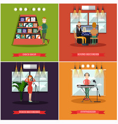 Set of radio posters banners in flat style vector