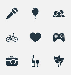set simple birthday icons vector image