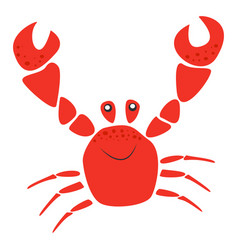 smiling red crab with raised claws sea animal vector image