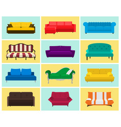 Sofa icon set colored collection vector