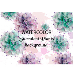 succulent plants watercolor tropic exotic pattern vector image