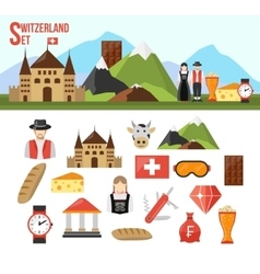 Switzerland symbols set vector