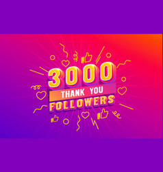 Thank you 3000 followers peoples online social vector
