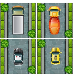 Top view of trucks and cars on the road vector image