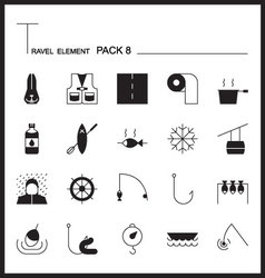 Travel Element Line Icon Set 8Camping thin icons vector
