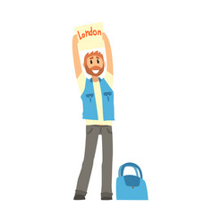 Traveler man hitchhiking with tablet with text vector