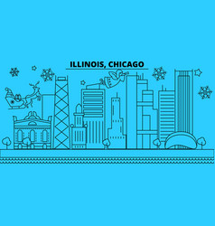 united states chicago winter holidays skyline vector image
