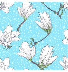 Vintage pattern with magnolia flowers vector image