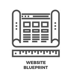 Website blueprint line icon vector