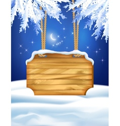 Winter Night Landscape Wooden Board vector image