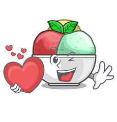 With heart scoops of sorbet in isolated mascot vector