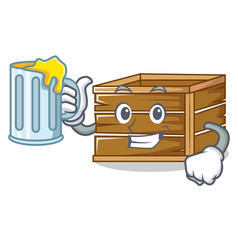 With juice crate mascot cartoon style vector