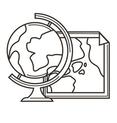 world map and globe earth planet continents vector image