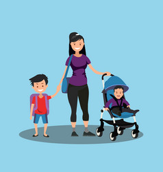 young mother with a baby in a stroller and a son vector image