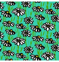 pattern with hand drawn daisy flowers vector image vector image