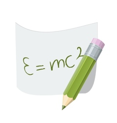 Pencil with paper page with formula vector image