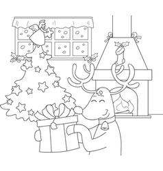 Reindeer with gift and Christmas tree vector image vector image