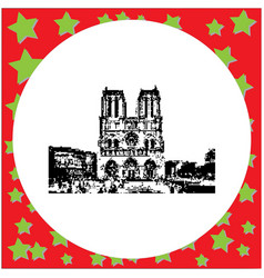 black 8-bit notre dame cathedral on ile de la vector image vector image
