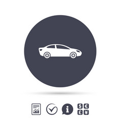 car sign icon sedan saloon symbol vector image vector image