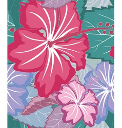 Hibiscus tropical floral seamless pattern vector image vector image