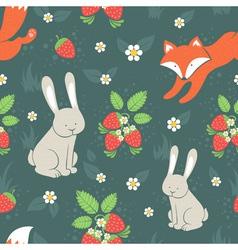 Rabbits and fox seamless pattern vector image