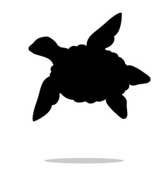 sea turtle reptile black silhouette animal vector image