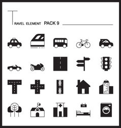 Travel Element Line Icon Set 9City and urban thin vector image vector image