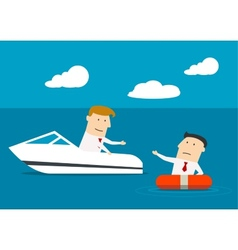 Businessman rescues another man at sea vector